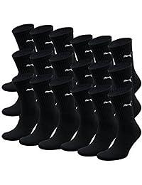 PUMA Unisex Crew Socks Socken Sportsocken MIT FROTTEESOHLE 18er Pack (Schwarz, 35-38)