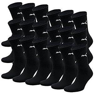 PUMA Unisex Crew Socks Socken Sportsocken MIT FROTTEESOHLE 18er Pack (39/42, Black)