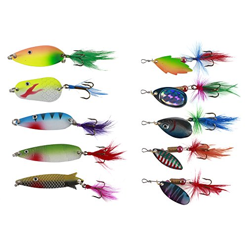 Free Fisher-10pcs Spinner Set Cucharillas Pesca para Lucio Perca Trucha