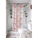 FLOZUM PVC Shower Curtain with 8 Hooks (54x78 inches) (Pink)