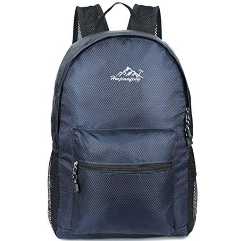 Super moderno unisex nylon sport zaino scuola borsa zaino pieghevole impermeabile zaino da escursionismo Cool leggero per PC portatile, iPad zaino, Uomo Bambino, Light Grey, M Dark Blue