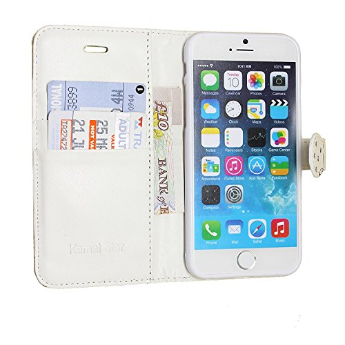 iPhone 7 Hülle , Kamal Star® PU Leder Flip Case Schutzhülle + Stylus Rose White Diamond Book