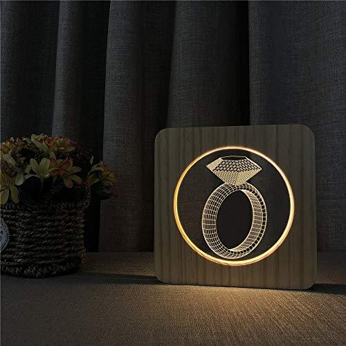 Diamantring aus Holz Nachtlicht Tischlichtschalter Steuerung Gravierlampe für Kinderzimmerdekoration