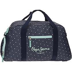 Pepe Jeans Denim Dots Bolsa de Viaje, 55 cm, 29.7 Litros, Azul