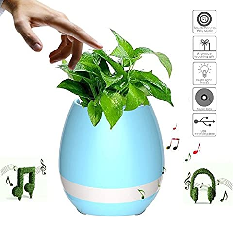 hmilydyk Bluetooth Musik Blumentopf Touch Sensitive Musik Übertopf Smart Touch Übertopf Piano Musik Spielen kabellos Blumentopf LED Buntes Licht Blumentopf LED Blumentopf