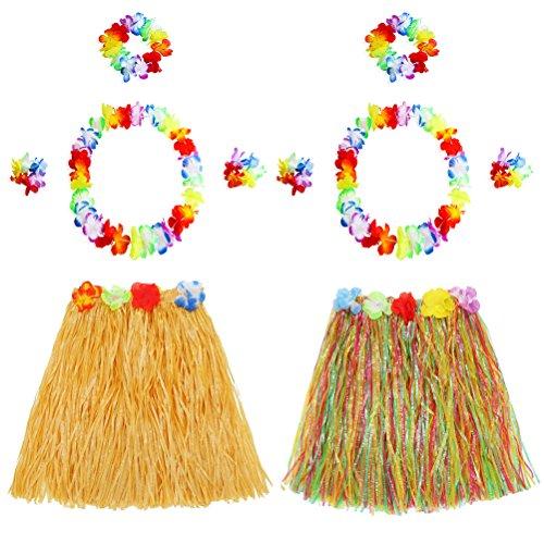 Amosfun 2 stücke Hawaii Tropical Hula Grass Dance Rock Blume Armbänder Kopf Schleife Hals Kranz Set Hawaiian Party Kostüm und Luau Outfit 40 cm -