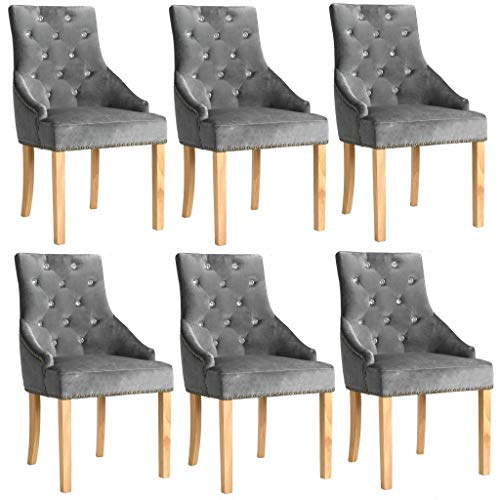 WT Trade 6er-Set Design Esszimmerstuhl SAMT-Bezug Silbern | Küchenstuhl Essstuhl Polstersessel |...