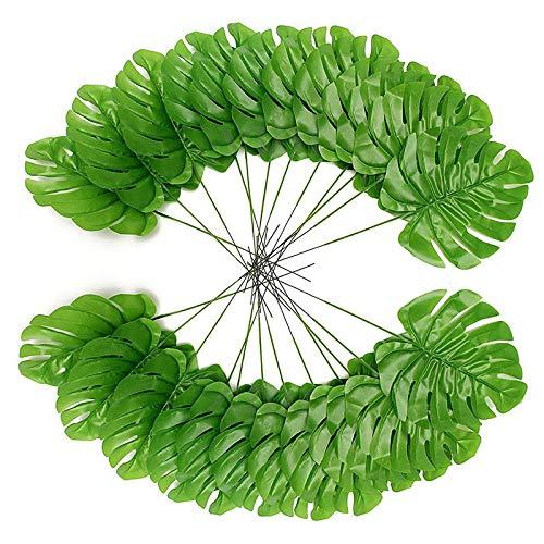 24 Stück Tropische Blätter Künstliche Monstera Palm Farn Deko 43cm