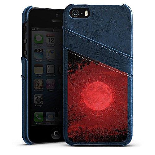 Apple iPhone 5 Housse étui coque protection Lune Lune Pleine lune Étui en cuir bleu marine