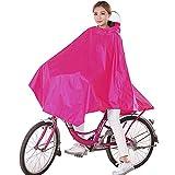 Damen Fahrrad Regenponcho , Regencape Atmungsaktiv mit Kapuze, Regenmantel Wasserdicht mit Reflektierendes Band, Lang Fahrradfahrer Fahrradregenponcho für Fahrrad Regenschutz (Rosa)