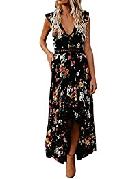beb4057673f Weant Femme Robe Chic Robe Femme Ete Robe de Plage Femme Robe Col V Floral  Imprimé