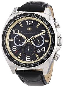 Tommy Hilfiger Watches 1790936 - Reloj analógico de cuarzo para hombre, correa de cuero color negro (cronómetro) de Tommy Hilfiger Watches