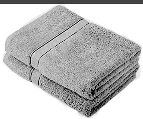 MSQ 2 X Super Large Bath Towels Sheets 100% Egyptian Cotton Jumbo 85cmX200cm (Grey) (Egyptian Cotton Bath Sheet)