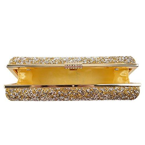 Yingzu Delle donne Frizione Splendente Sera Borsa con Strass Cristallo Borsa (Oro) Oro