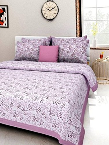 GKMSA 100% Pure Cotton Double King Bed sheet With 2 Pillow cover...