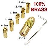 #2: Mini Drill Chuck 3.15mm 7Pcs 0.5-3mm 3.17mm Shank Metal Drill Chuck Collet Bits Rotary With Screw