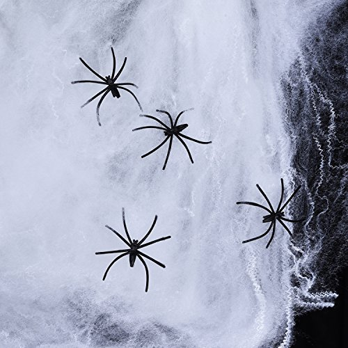 Sumind 3 Stück Spinnennetz Weiß Spinnweben mit 4 Stück Halloween Spinnen für Halloween Dekorationen, 40 g