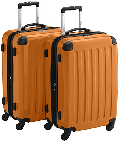HAUPTSTADTKOFFER - Alex - 2er Koffer-Set Hartschale glänzend, 65 cm, 74 Liter, Graphit-Schwarz Orange
