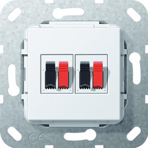 Gira 569303 Lautsprecher Anschluss 2-fach Einsatz, reinweiß 55 Audio