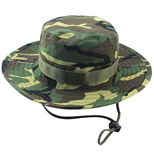 2 in 1 Unisex Erwachsene Breiter Krempe Angeln Klettern Sun Eimer Hut Cowboyhut Cap mit Verstellbarer Kinn Cord Grün Camouflage (Eimer Camouflage Hut)