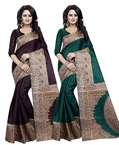 Ishin Combo of 2 Bhagalpuri Art Silk Printed Party Wear Wedding Wear Casual Wear Festive Wear Bollywood New Collection Latest Design Trendy Women\'s Saree/Sari