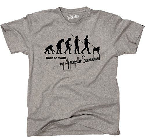 Siviwonder Unisex T-Shirt Evolution APPENZELLER SENNENHUND - Walk my... Hunde lustig fun sports grey XL