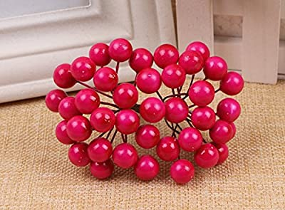 RICISUNG A bunch includes 20 branches, 40 berries Mini Christmas Frosted Fruit Berry Holly Artificial Flower Decor from RICISUNG