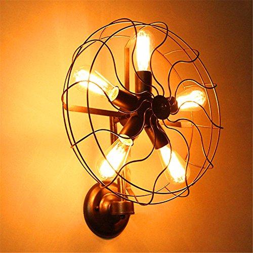 MDERTY LED Wandleuchte Innen Wandlampe Loft Industrial Wind Ventilator Alte dekorative Leuchten Wandbeleuchtung für Bad Flur Kinderzimmer Treppenhaus Wohnzimmer Schlafzimmer -