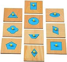 Juguetes Preescolar Rompecabezas Geométrica en Forma de Clavija Madera Azul Niños