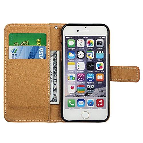 """xhorizon TM Premium PU parfum cuir bouteille fleur motif portefeuille magnétique cas stand flip avec des fentes de cartes pour iPhone 6(4.7"""") #2"""