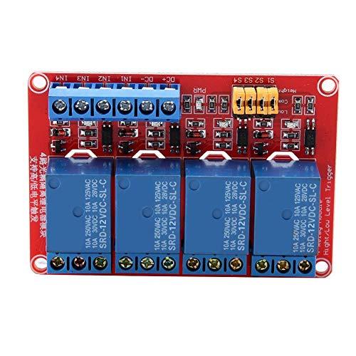 Fach-modul (4-Kanal-Relaismodul, Optokoppler-Relaismodul mit hohem und niedrigem Auslöser und 4-Wege-Relaisstatusanzeige (12V))
