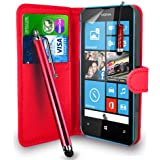 Nokia Lumia 520 - Premium Leather Wallet Flip Case Cover Pouch + Long Touch Stylus Pen + Mini Touch Stylus Pen + Screen Protector & Polishing Cloth (Wallet Red)