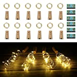 Vicloon Luz de Botella,2m 20LEDs Lámparas de Botellas con Pilas Flexible de Alambre de Cobre,LED Corcho Micro Luces para Carnaval,Decoración de...