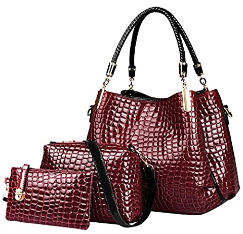 Crocodile Leather Women Handbag Set:Ladies Hobo Crossbody Bag and Purse