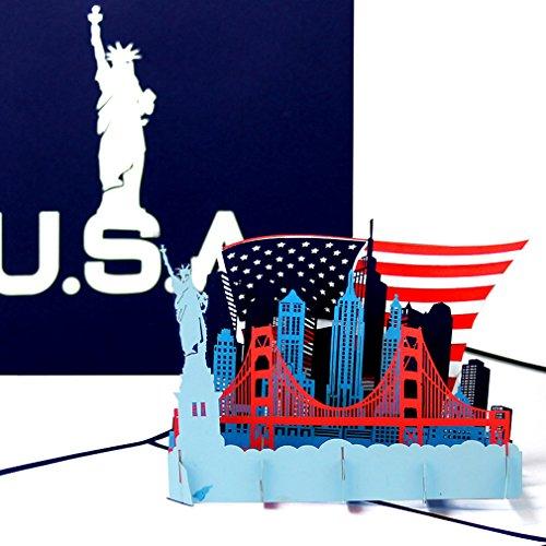 """Pop Up Karte """"U.S.A. - Stars & Stripes"""" - 3D Grußkarte als Souvenir, Geburtstagskarte, Reisegutschein, Einladung zur Städtereise New York & Urlaub in den USA"""