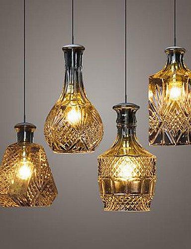 SWENT Moderne einfache/Retro/LED-pendelleuchten Kristall Glas Lampe, 4 Lichter Schatten Restaurant Küche minimalistischen Persönlichkeit Flasche Lichter, 220-240V (Schatten Kristall Licht Anhänger)