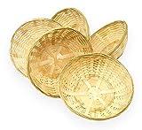 Lashuma 5er Korbset Runde Bambuskörbchen, geflochtener Brotkorb und Brötchenlorb, Korb klein Ø 20 cm