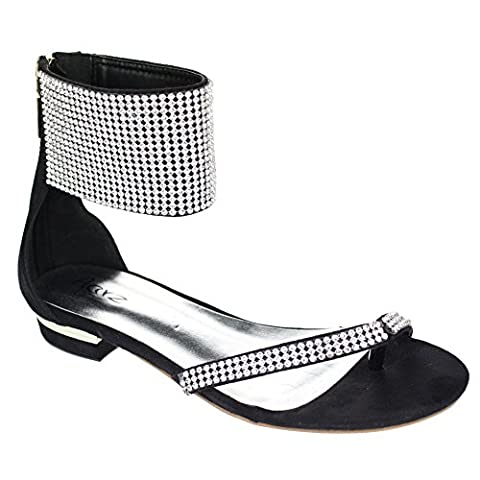 Aarz Femmes Mesdames Soirée Casual Comfort Flat Diamante Slipper Gladiator Sandal Chaussures Taille (Noir, Argent, Or, Champagne)