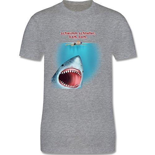 Wassersport - Schwimm schneller, bam, bam. - Herren Premium T-Shirt Grau Meliert