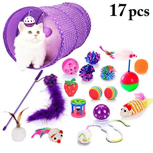 Legendog 17pcs Set Di Giocattoli Per Gatti Giocattolo Palla Di Gatto Tipi Assortiti Cat Teaser Toy Cat Tunnel