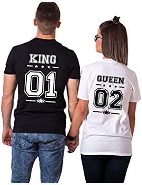 Pareja Camisetas King Shirts de Manga Corta T-Shirt 100% Algodón Impresión 01 2 Piezas Rey Reina Regalo de San...