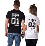 Couple King Shirt Queen San Valentino 100% Cotone T-Shirt Coppia Manica Corta Stampa 01 Maglietta Girocollo per Donna Uomo Regalo(Nero+Bianco,M+S)