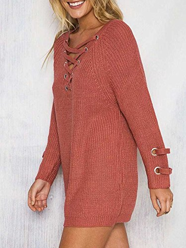 Simplee Apparel Women's Autumn Winter Casual Loose V Neck Lace up Front Knitted Sweater Dress Jumper Knitwear Pullover Top Orange
