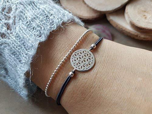 Stretch-Armband Lebensblume mit Kugelkette