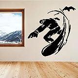 Namefeng Sticker Mural Sports d'hiver Amovible Snowboard SportsStickerDéco Maison Décoration Design PVC Snowboarders Art Mural 57X59Cm...