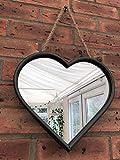 Homes On Trend Großes Herz-Form-Spiegel-Metallrand-Seil-hängende Schleife-Industrielle schäbige Art