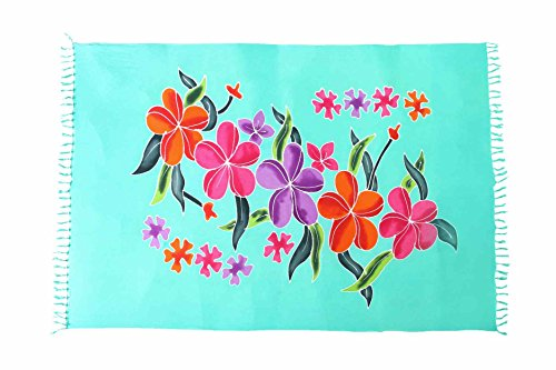 Sarong Pareo Wickelrock Strandtuch Tuch Schal Wickelkleid Strandkleid Blickdicht Malediven Blumen Muster (Sarong Pareo Muster Damen)