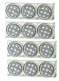 12 Glas Teelichter mit attraktivem Sterne Design in Grau/Weiß, wiederverwendbares Dauermotiv bleibt bei Abbrand sichtbar