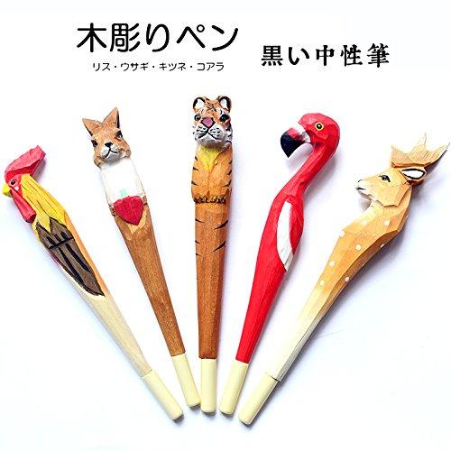 Carino fatto a mano in legno intagliato Animal gel penna Giraffe