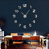 Cyalla 1pcsSimple Analogique Surface Grand Arabie Chiffres Horloge Mur Autocollant 3D Miroir DIY Horloge Murale Montres Accueil Horloge Pared Adhésif 37inch